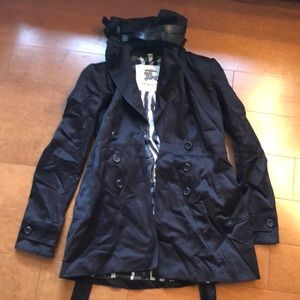 Burberry London trench coat leather neck belts